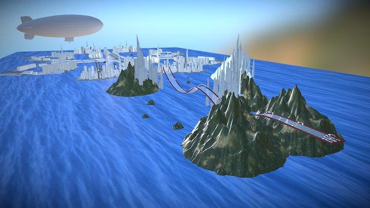 Escenarios de carreras sci-fi (reconstrucción) 3D Model