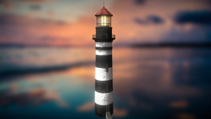 Old Black & White Lighthouse 3D Model