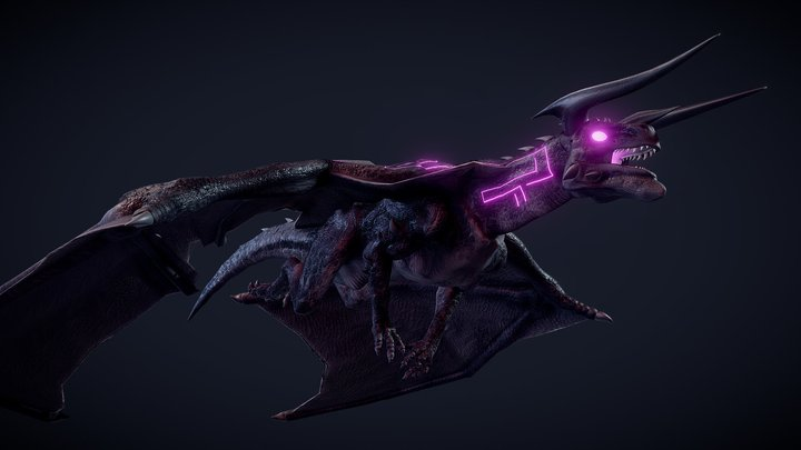 Enchanted Dark Dragon 3D Model