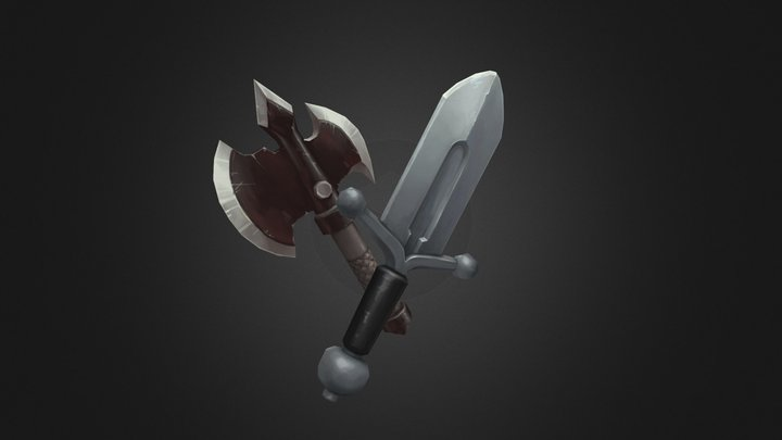 20 Handpainted Weapons 3D Model