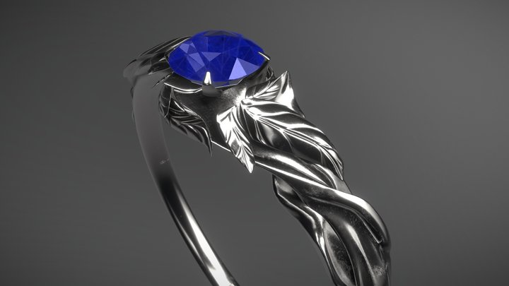 Saphire Leaves Ring 3D Model
