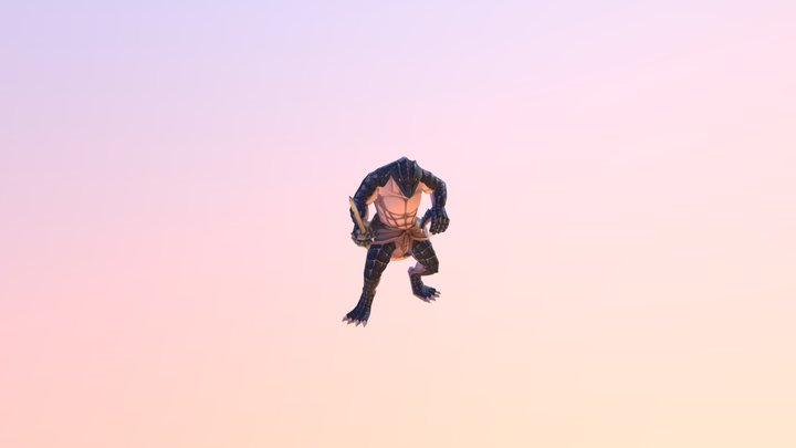 Generic Lizardman w/ 5 color options (Overlord) 3D Model