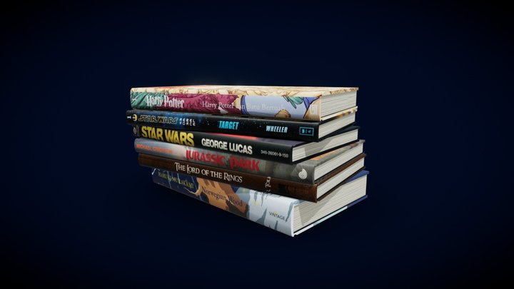 Fantasy Books low polygonal - collection N1 3D Model