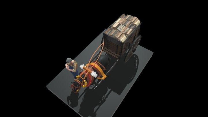 CARRO DE TRABUC AMB LLENYA 3D Model