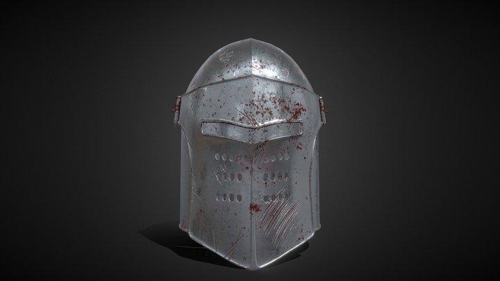 Knight Helmet Rusted 3D Model