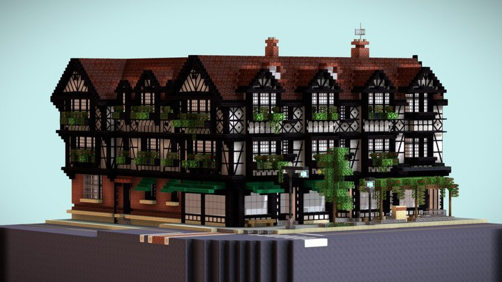Minecraft Scene Tudor Building 3D Model