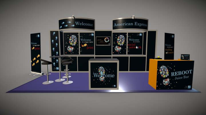 American Express Tradeshow Stand 3D Model