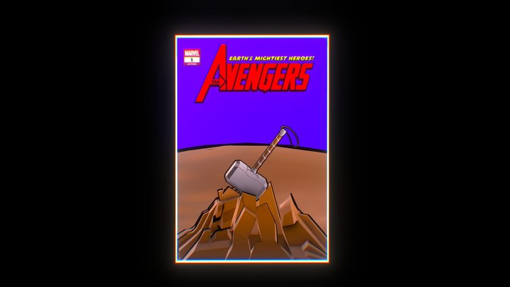 Mjolnir - Thor's hammer in an Avengers comic 3D Model