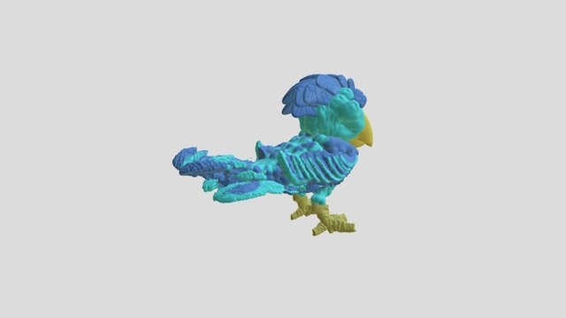 Exotic Blue Bird 3D Model