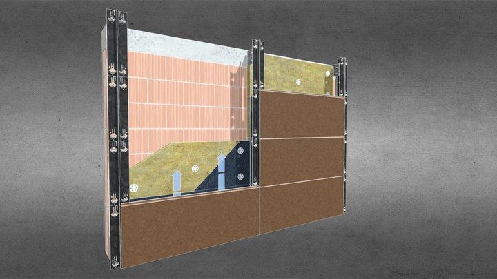 facciata ventilata in gres estruso 3D Model