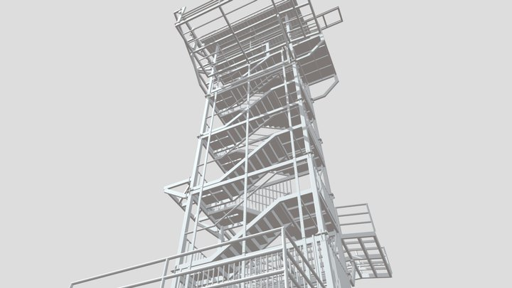 steel staircase only bolt are left 3D Model