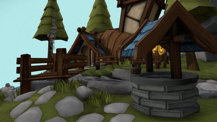 Small & Cozy stylized island 3D Model