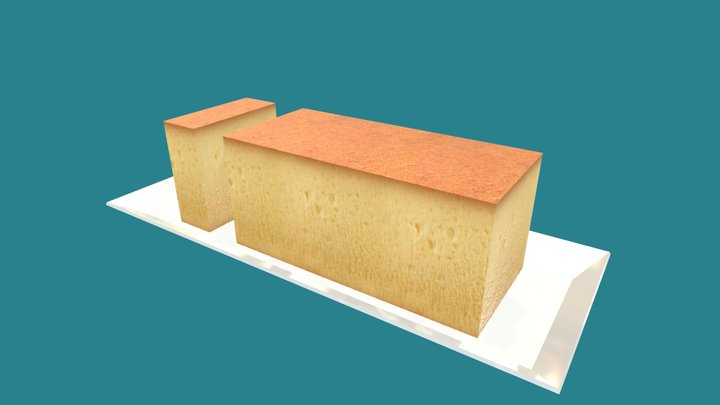 Castella Cake (Low Poly) 3D Model