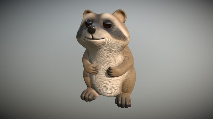 Raccoon Statue Highpoly Free download 3D Model