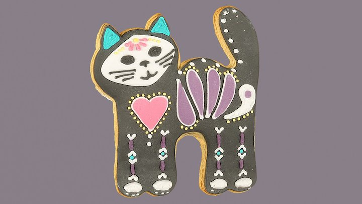 Day of the Dead Cat Cookie 3D Model