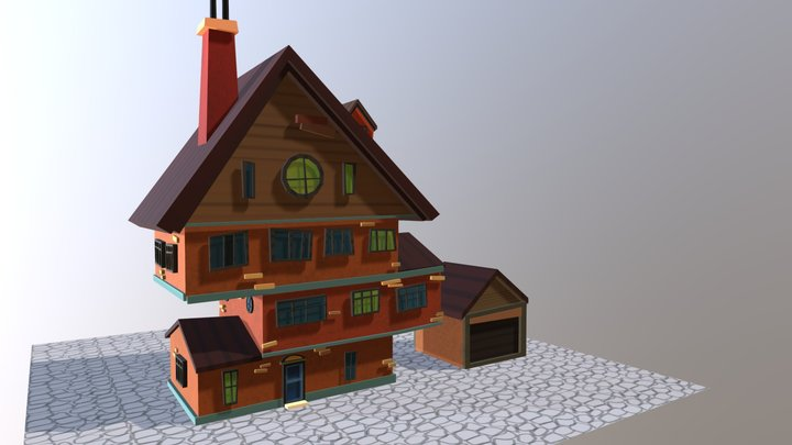 Cute Blocky House 3D Model