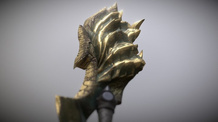 MHW Iceborne Acidic Glavenus Greatsword 3D Model