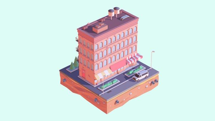 Cartoon Low Poly Brooklyn House 3D Model