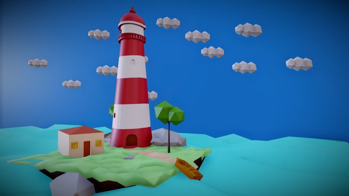 Lighthouse Low-Poly Scene 3D Model