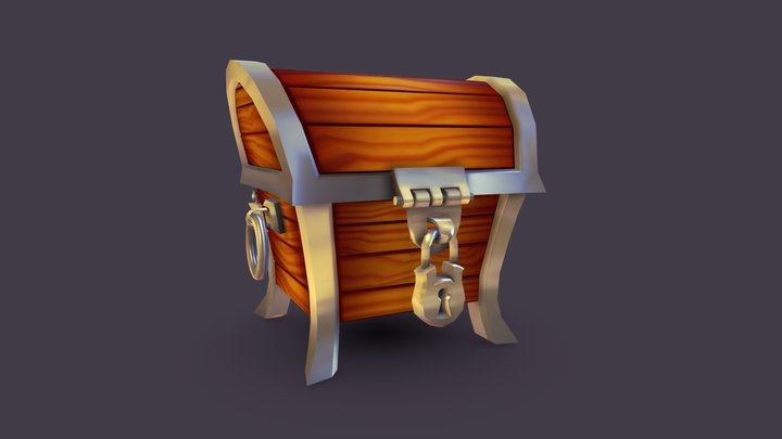 Stylized Treasure Chest 3D Model