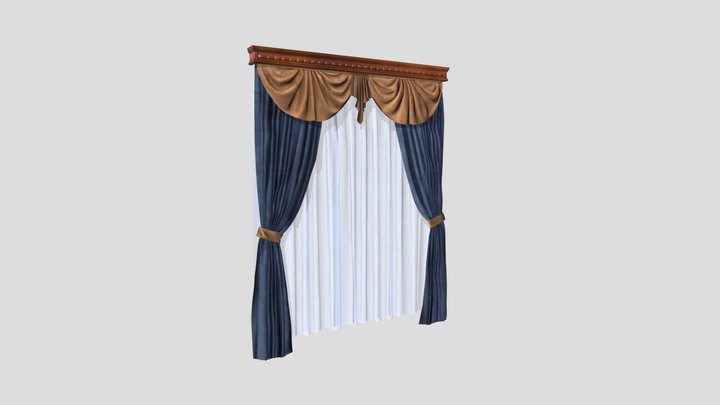 №607 Curtain  3D low poly model for VR-projects 3D Model