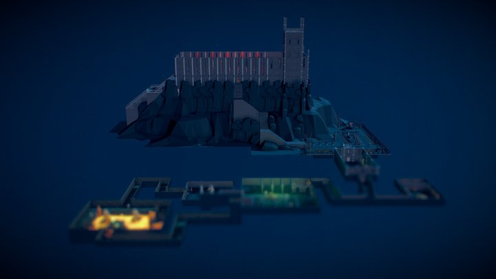 Low Poly Dungeon Game 3D Model