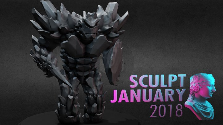 SculptJanuary18 - Day 5: Golem 3D Model
