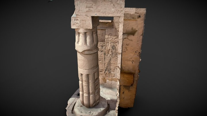 column of temple of King Seti 1st Frontal facade 3D Model