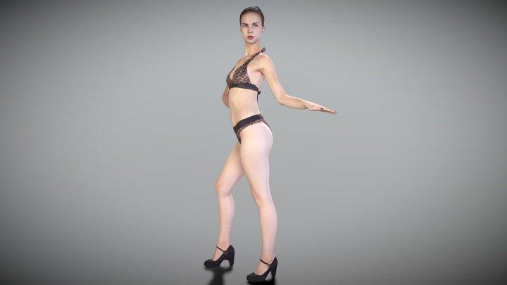 Sexy brunette in a leopard swimsuit 175 3D Model