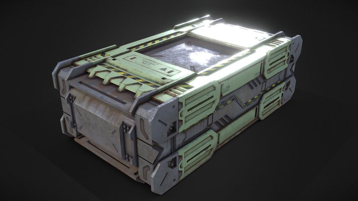 Sci-Fi Low Poly Container 3D Model