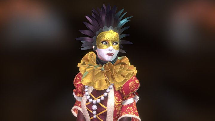 Venice carnival dress 3D Model