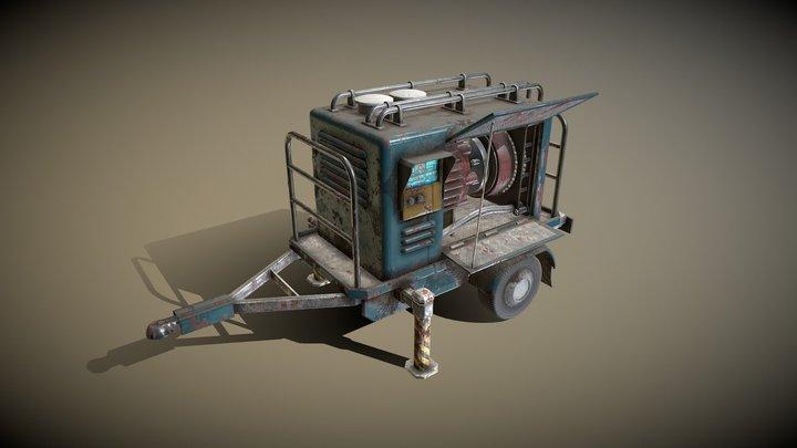 mobile generator on trailer 3D Model
