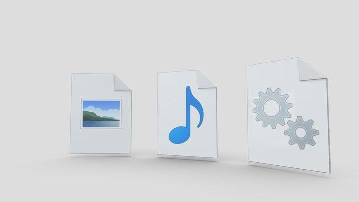 Windows 10 File Icons 3D Model