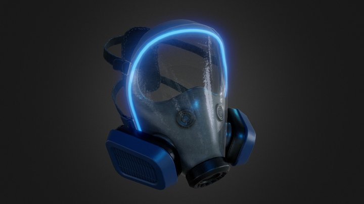 Sci-fi Glass Face Gas Mask 3D Model