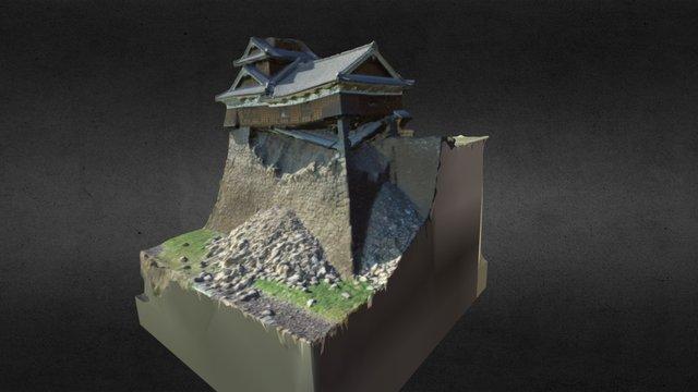 Castle Kumamoto Damaged by Earthquike 3D Model