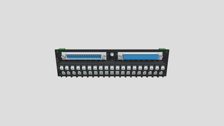 コネクタ端子台変換ユニット(D-sub37オス/メス⇔端子台):DINレール取付け 3D Model