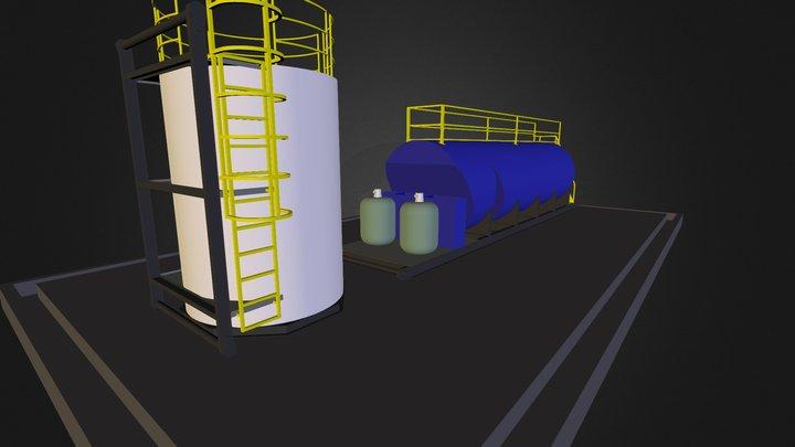 PTAR cilindrica con tanque 5000 galones 3D Model