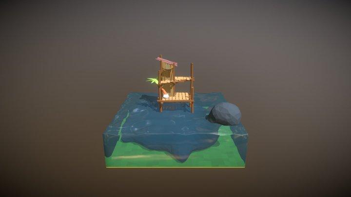 Lowpoly Sea Shack 3D Model