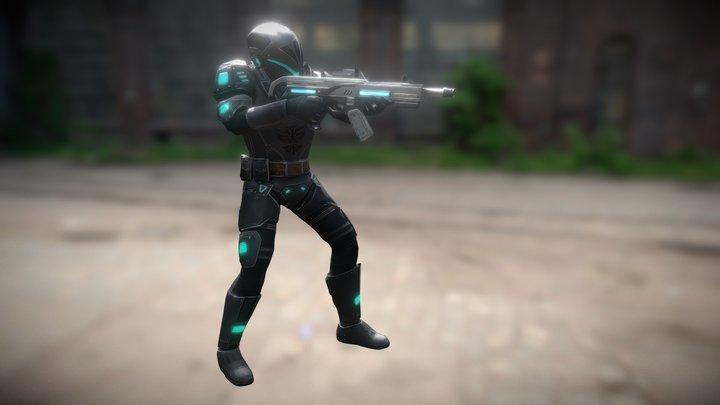 Futuristic Soldier 4. 3D Model