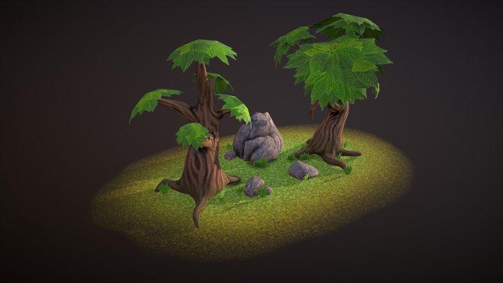 Set of lowpoly trees & rocks 3D Model