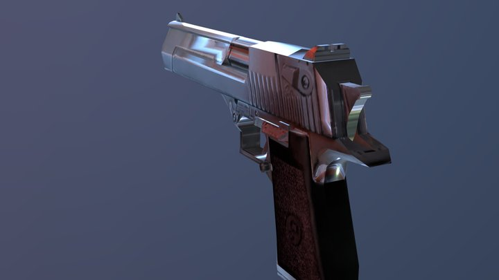 Low-poly Retro Desert Eagle Model 3D Model