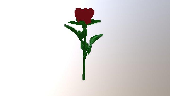 Voxel Rose flower. 3D Model