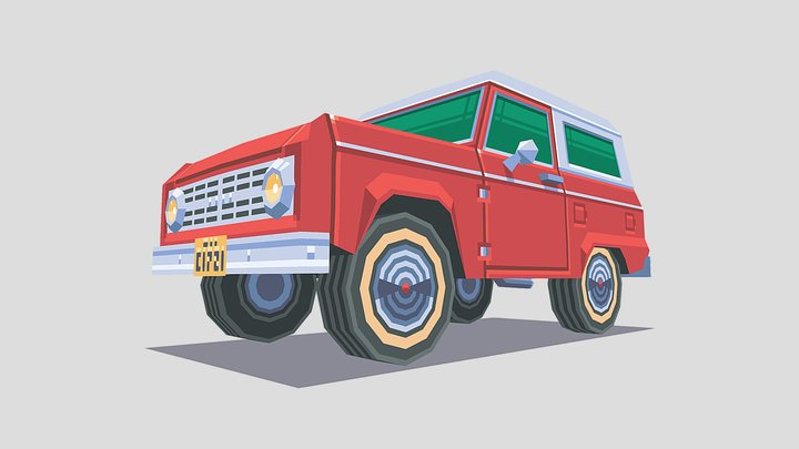 Low Poly SUV 3D Model
