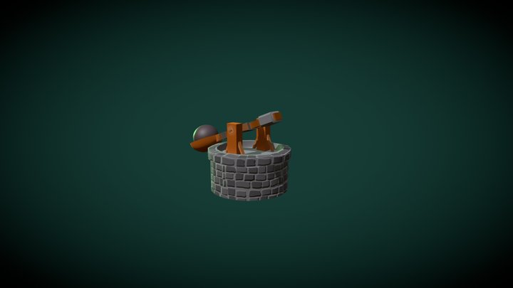 Animated Catapult 3D Model