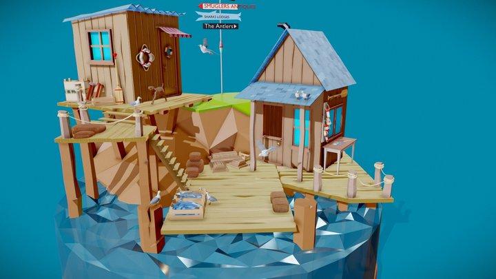 Old pier dock - Low poly scene 3D Model