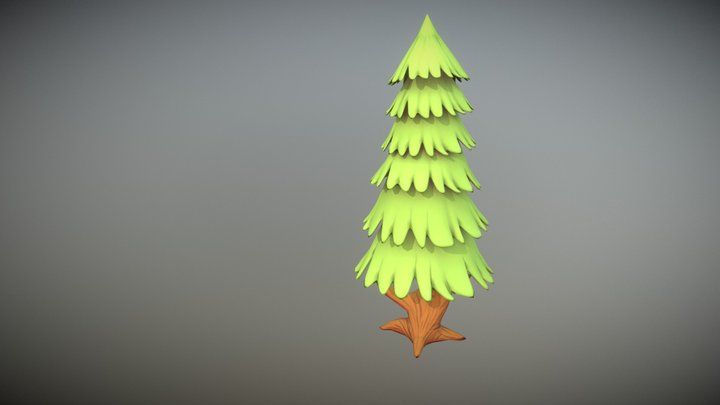 Cartoon Pine Tree 3D Model