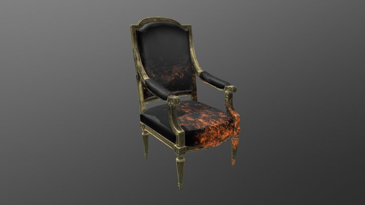 Low-Poly Baroque Chair 3D Model