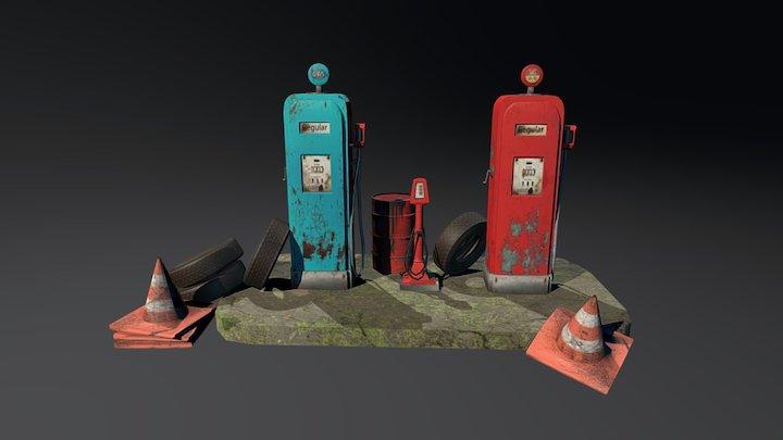 gas station assets 3D Model