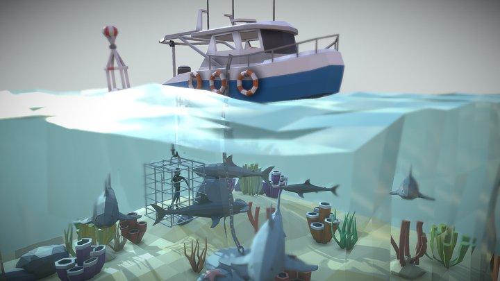 L-P Shark Cage Diving Scene 3D Model