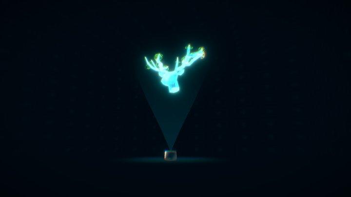 Sci-fi Deer hologram - [Long] 3D Model